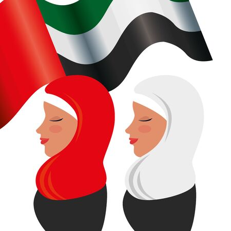 islamic women with traditional burka and emirates arab flag vector illustration design 版權商用圖片 - 135546881