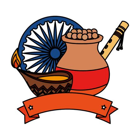 indian ceramic jar with food and decorative icons vector illustration design Illustration