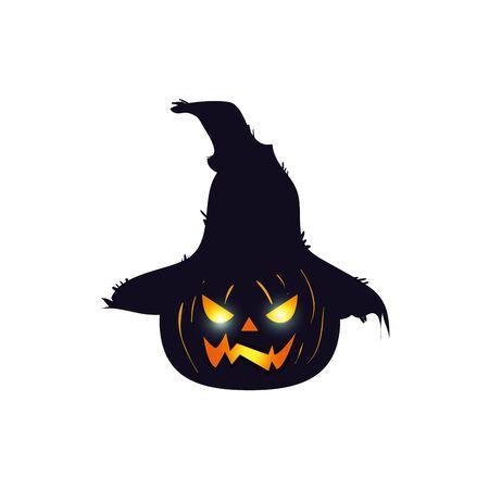 halloween pumpkin with scarecrow hat vector illustration design