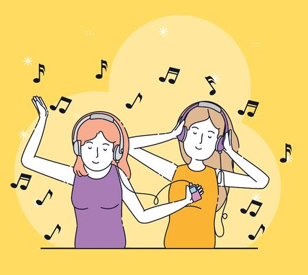 happy girls with headphones technology and mp4 over orange background, vector illustration