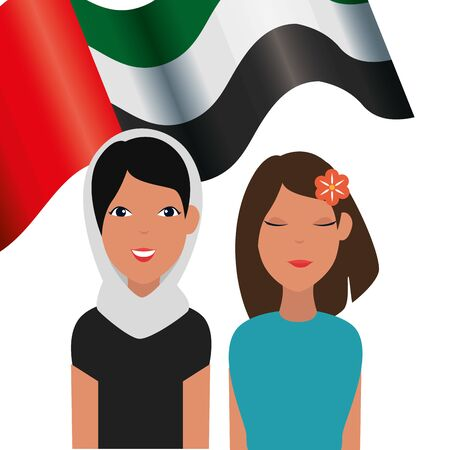 islamic women with traditional burka and arabia flag vector illustration design
