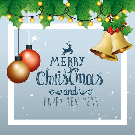 poster of merry christmas and happy new year with bell vector illustration design