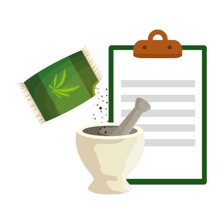 cannabis seeds bag with grinder and checklist vector illustration design Stock Illustratie
