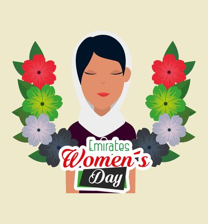 happy woman with flowers design and leaves to emirates womens day, vector illustration 向量圖像