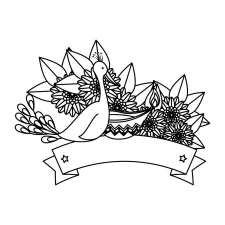 indian peacock bird exotic with floral decoration vector illustration design