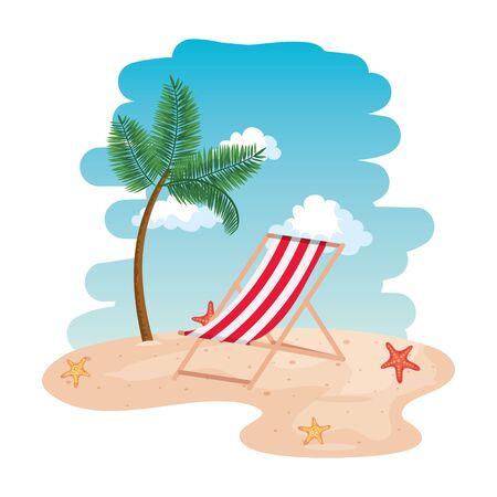 beach seascape scene with chair vector illustration design