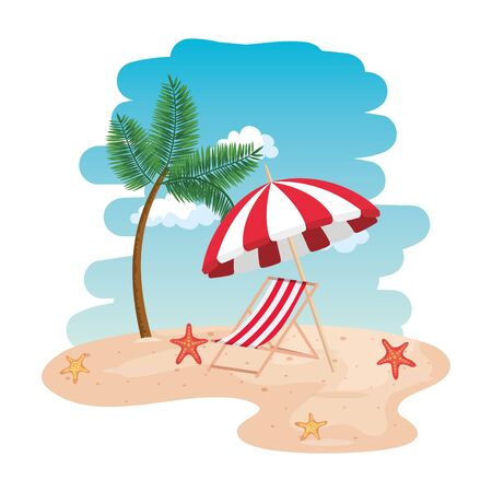 beach seascape scene with chair and umbrella vector illustration design