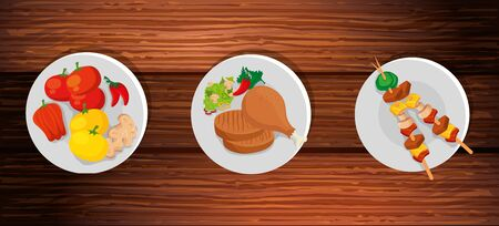 set of delicious food in wooden background vector illustration design Illustration