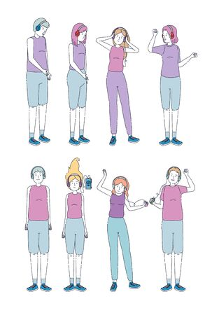 set of girls and boys listen to music with mp4 and smartphone to entertainment, vector illustration