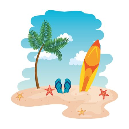 beach seascape scene with surfboard and sandals vector illustration design
