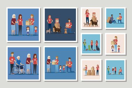 set of scenes donation charity vector illustration design