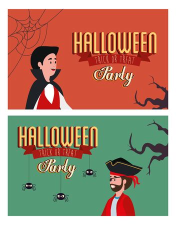set poster of party halloween with men disguised vector illustration design