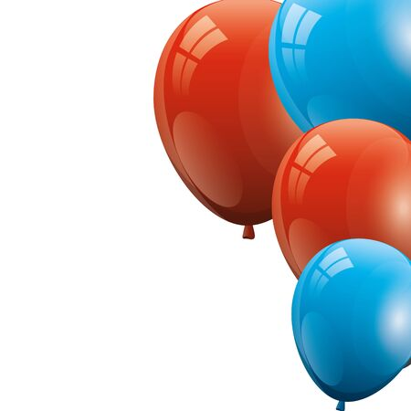 set balloons helium red with white and blue vector illustration design  イラスト・ベクター素材