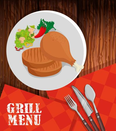 grill menu with delicious food and set cutlery vector illustration design Illusztráció
