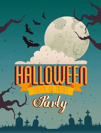 Halloween party card over cemetery background, vector illustration design
