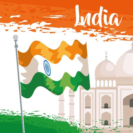 taj mahal with india national flag to independence day vector illustration 일러스트