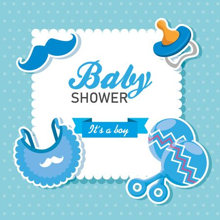 letter invitation with litter boy decoration to baby shower vector illustration