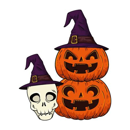 halloween pumpkins and skull with hat witch pop art style vector illustration design