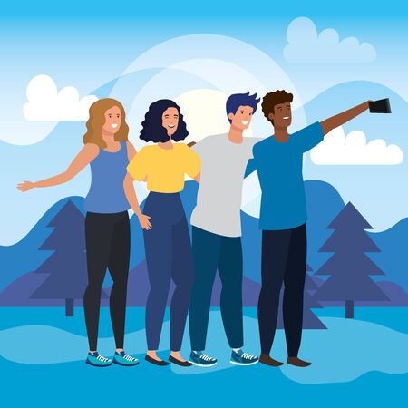 girls and boys friends together with smartphone selfie in the landscape with pines trees, vector illustration