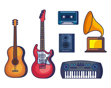 set guitars with piano and cassette with stereo and turntable over white background vector illustration Иллюстрация