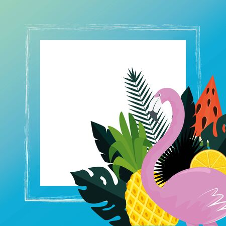 summer frame with tropical fruits and flemish vector illustration design
