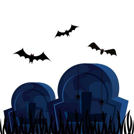 halloween tombs with bats flying vector illustration design Ilustracja