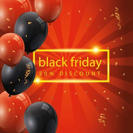 black friday poster and fifty discount with balloons helium decoration vector illustration design