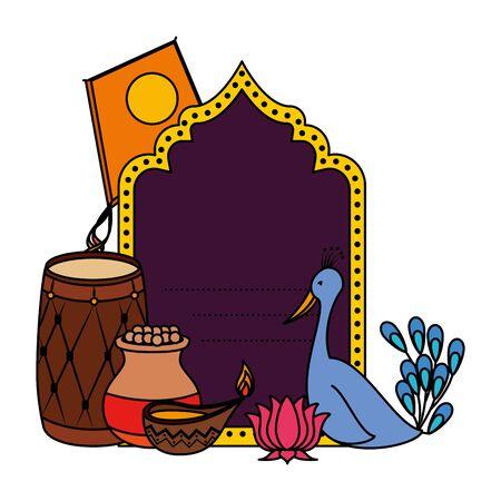india celebration invitation card with set icons vector illustration design