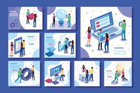 set of scenes teamwork people vector illustration design