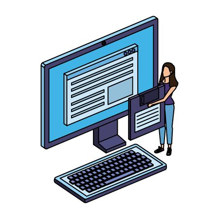 young woman lifting floppy disk with desktop vector illustration design