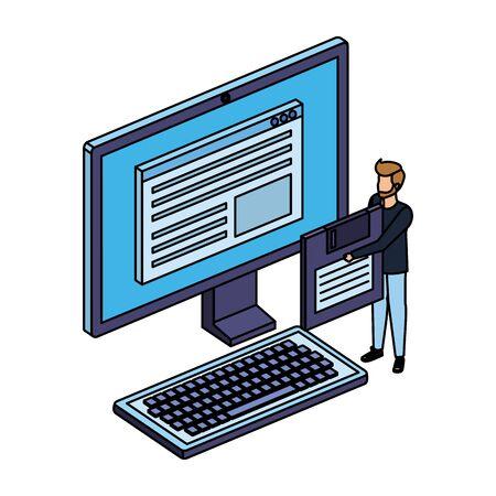 young man lifting floppy disk with desktop vector illustration design 일러스트