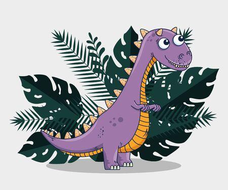 carnotaurus wild dinosaur with branches leaves plants to prehistoric animal vector illustration Vektoros illusztráció