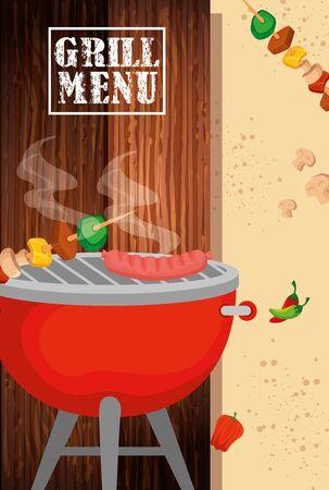 grill menu with delicious food vector illustration design 일러스트
