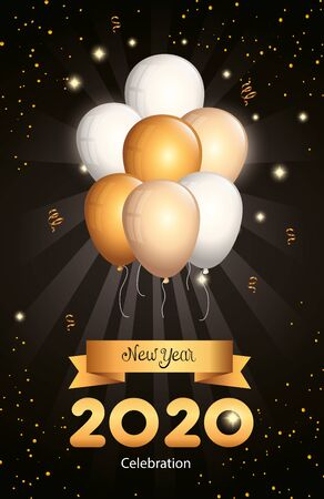poster of happy new year 2020 with balloons helium vector illustration design