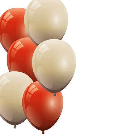 set of balloons helium red and white isolated icon vector illustration design