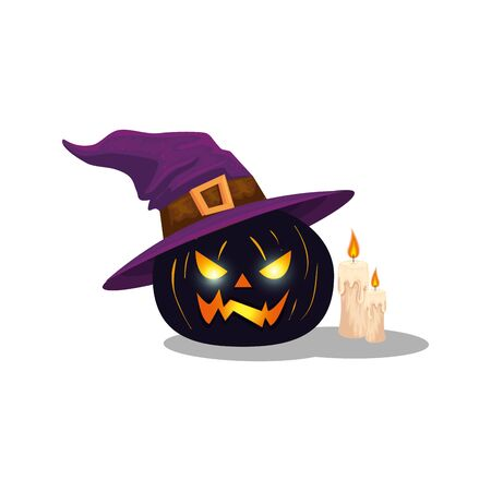 halloween pumpkin with witch hat and candles vector illustration design