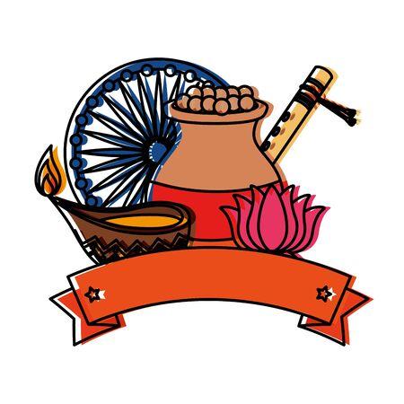 indian ceramic jar with food and ornamental icons vector illustration design Ilustração
