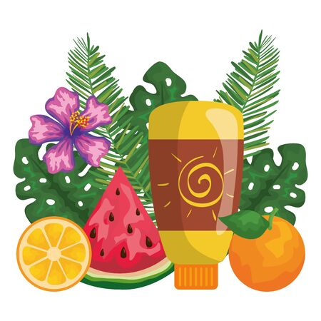 solar blocker bottle product with leafs and fruits vector illustration design