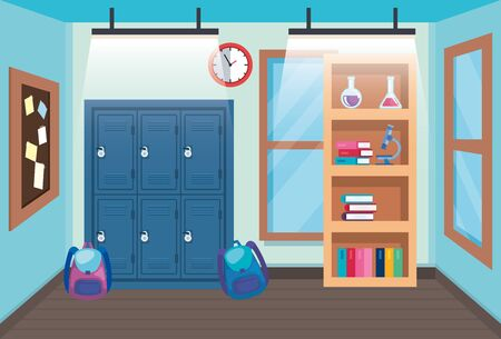 classroom with lockers and backpacks with bookcase and clock to back to school vector illustration Ilustração