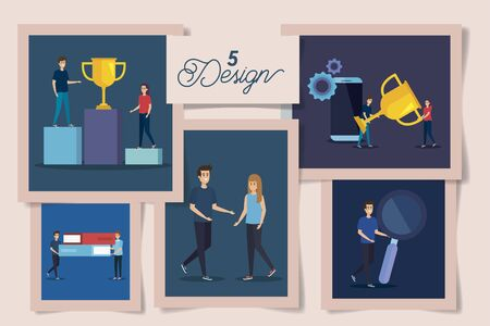 set of five designs with business icons and people vector illustration design