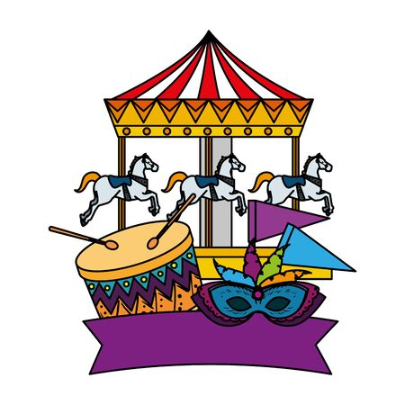 carnival carousel horses with drum and mask vector illustration design