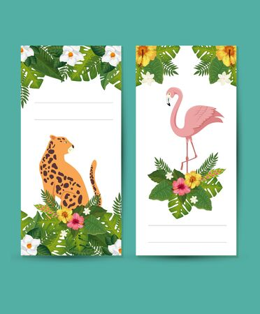 set scenes of leopard and flamenco with leafs vector illustration design Stock Illustratie
