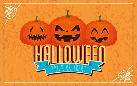 poster of happy halloween with pumpkins vector illustration design Ilustracja