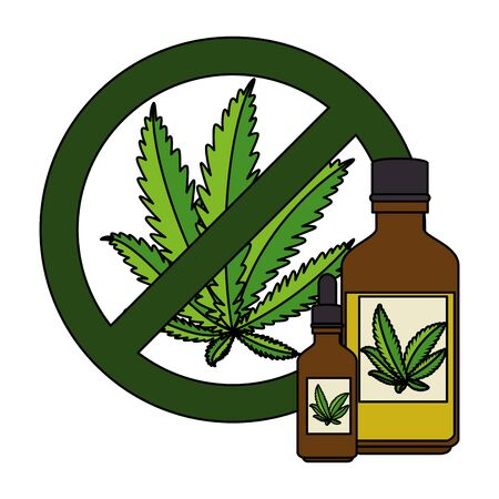 cannabis leafs with denied symbol and bottles product vector illustration design 向量圖像