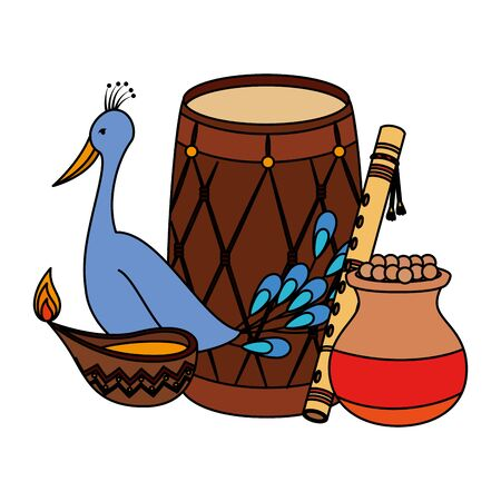 indian drum with candle and peacock vector illustration design Illusztráció
