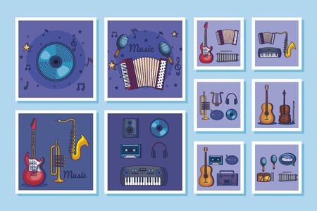 bundle of music instruments and icons vector illustration design