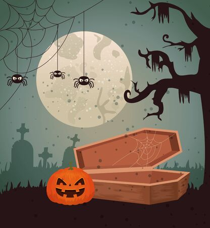Halloween design over cemetery background, vector illustration Ilustrace