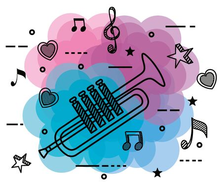 trumpet instrument with treble, clef and quaver with beam notes to music melody vector illustration