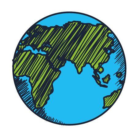 planète terre monde icône isolé conception d'illustration vectorielle