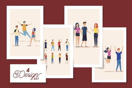 set of four designs teenager group celebrating vector illustration design